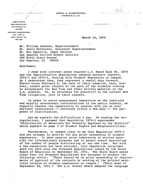 1973.03.14 -- High res Leon Letwin Letter to LAUSD_Page_1