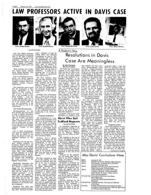 1969.10.20 -- Law Professors Active in Davis Case -- UCLA Law School
