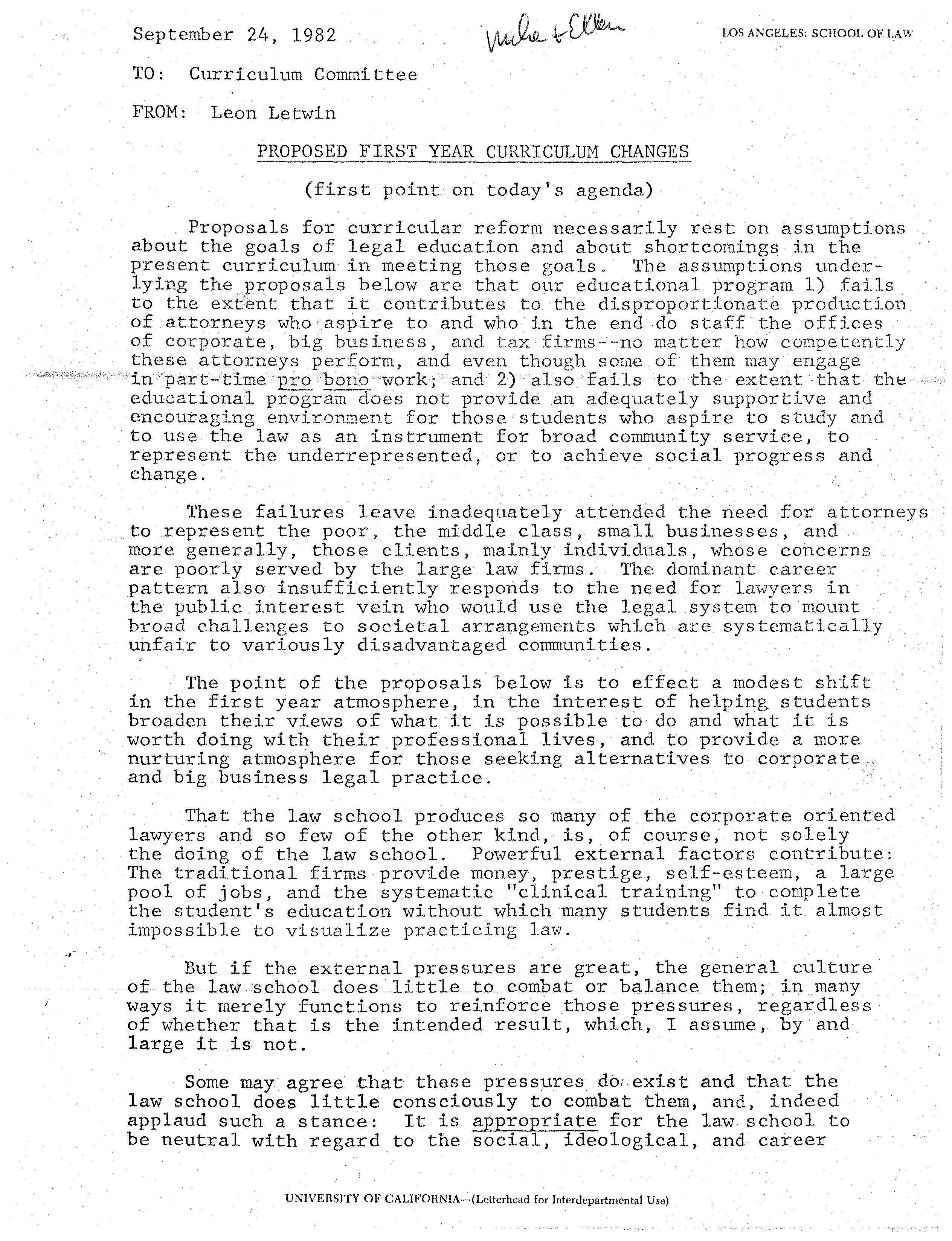 1982 09 24: Proposed First Year Curriculum Changes (UCLA Law